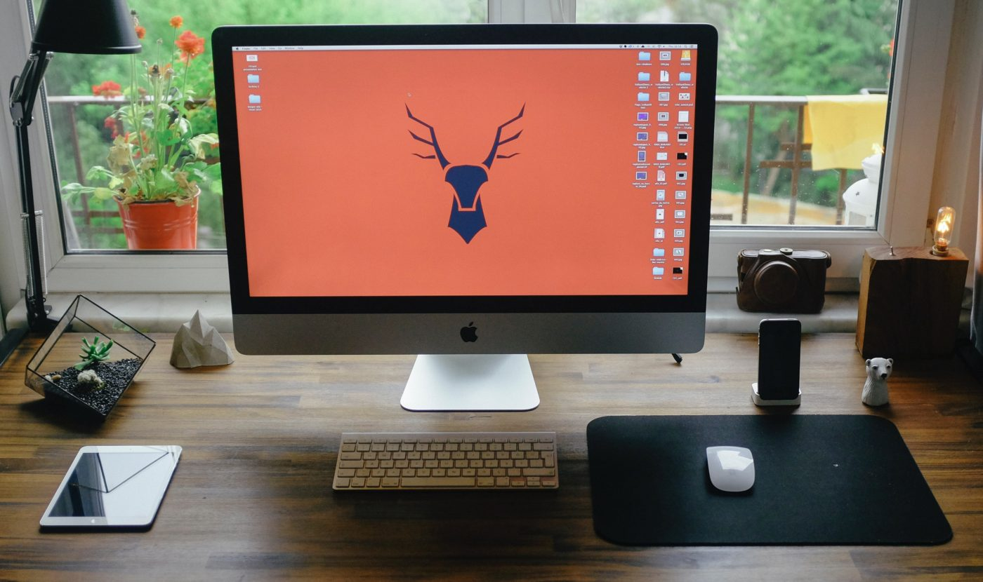 Simple logo of stag head on computer screen