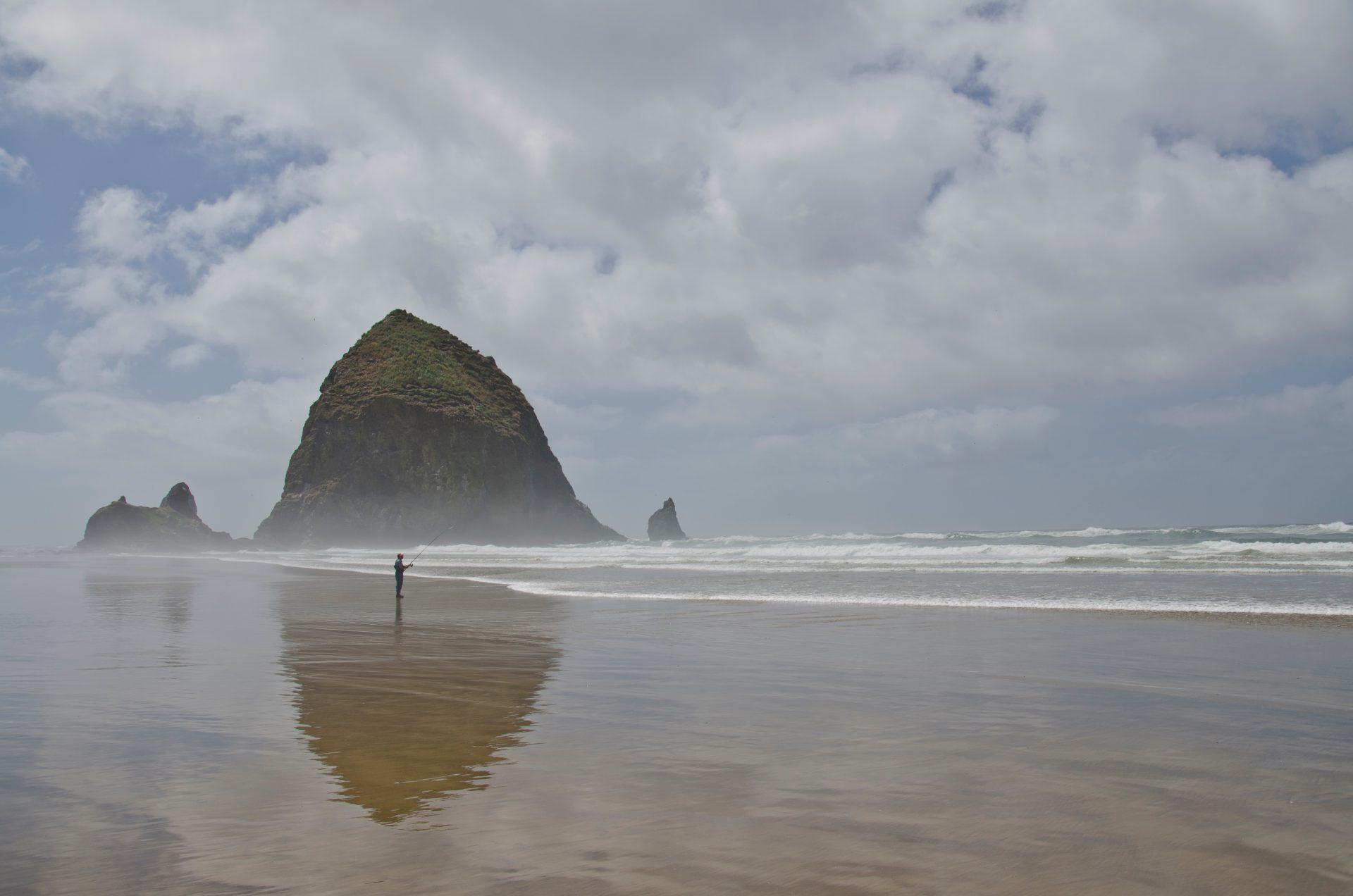 Man fishing on Oregon coast